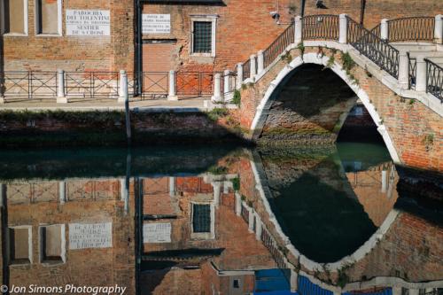 Venice bridge reflection in canal
